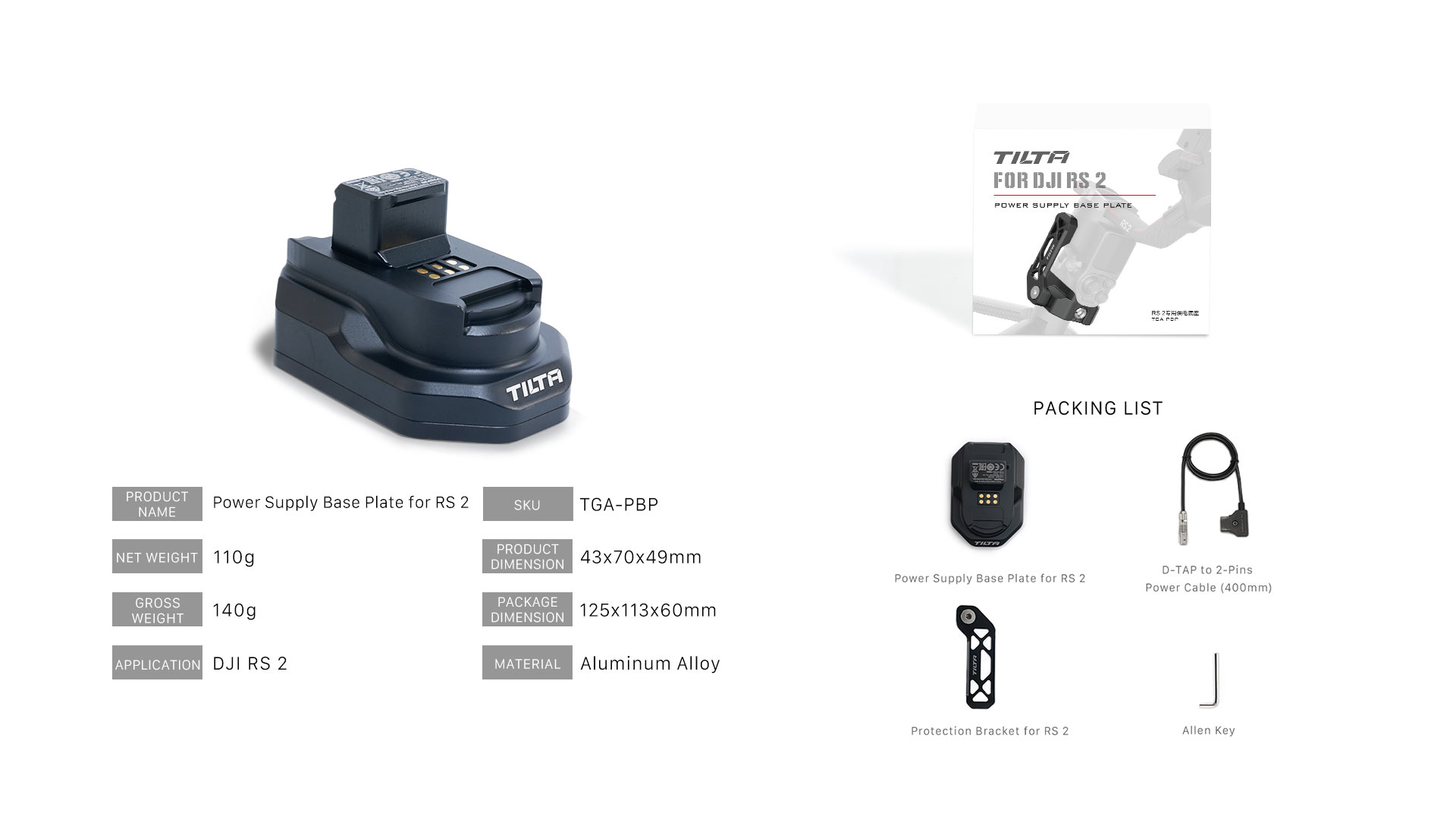 TGA-PBP tech specs & packing list
