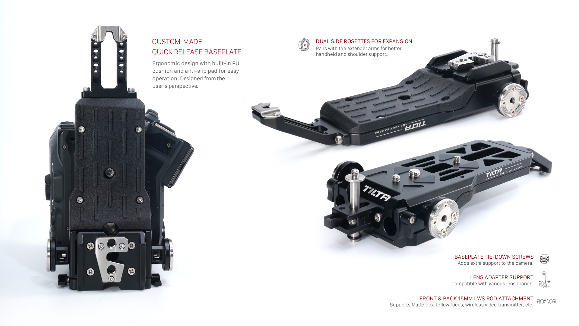 custom-made quick release baseplate + hardware features